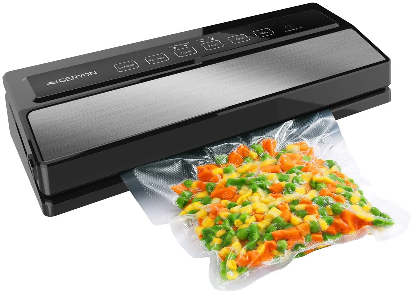 GERYON Vacuum Sealer Machine, Automatic Food Sealer for Food Savers w Starter Kit Led Indicator Lights Easy to Clean Dry Moist Food Modes Compact Design Silver Renewed