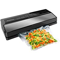 GERYON Vacuum Sealer 4-in-1 Automatic Food Sealers with Starter Kit of Saver Roll Bags and Hose for Food Preservation (Stainless Steel)