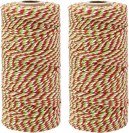 Decorative Bakers Twine for DIY Crafts and Gift Wrapping Just Artifacts ECO Bakers Twine 110-Yards 12Ply Striped Green Apple