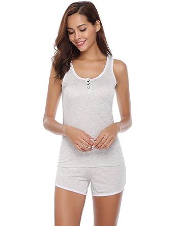 le dernier 5246a 6b484 Aibrou Femme Pyjama Coton Imprimé avec Short Ensembles de Pyjama joil Motif  Vêtement de Nuit Court Confortable sans Manche 2 Pieces