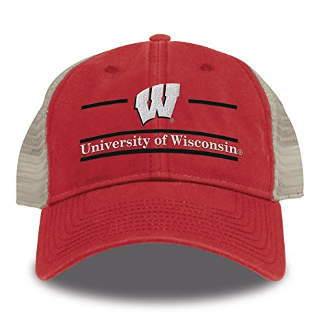 san francisco f3bec 5a754 The Game NCAA Wisconsin Badgers Split Bar Design Trucker Mesh Hat, Red,  Adjustable