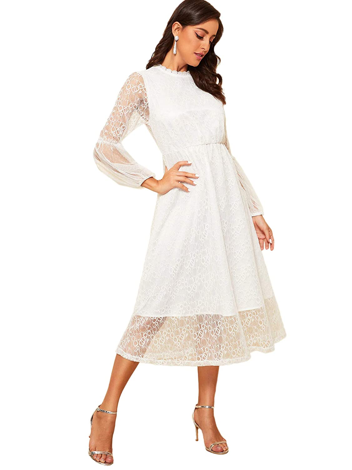 Old Fashioned Dresses | Old Dress Styles Romwe Womens Elegant Mesh Lantern Long Sleeve Mock Neck Swing Flared Formal Cocktail Party Wedding Dress $28.99 AT vintagedancer.com