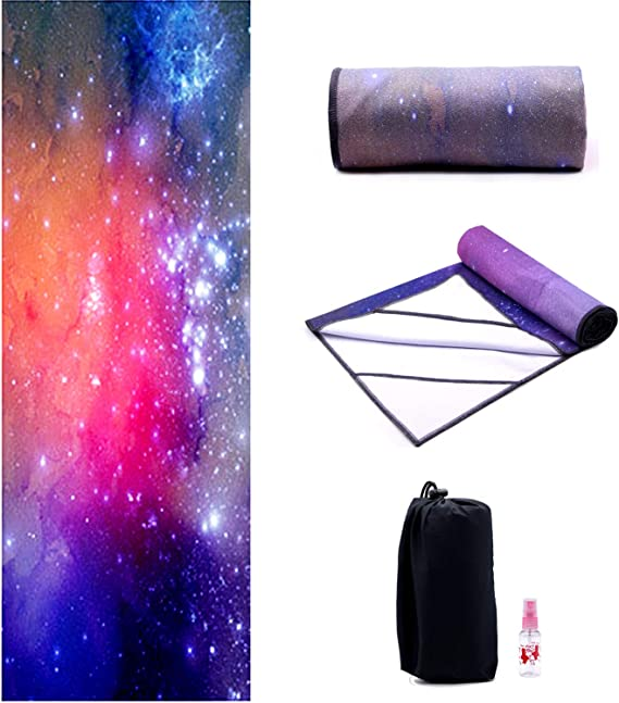Yoga Towel,Hot Yoga Mat Towel with Corner Pockets Design - Sweat Absorbent Non-Slip for Hot Yoga,Bikram and Pilates