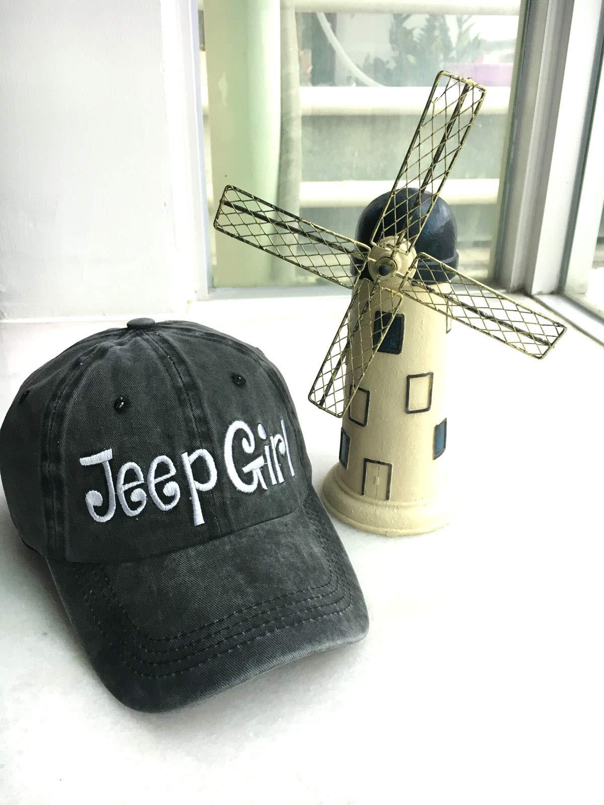 Waldeal Embroidered Jp Girl Vintage Distressed Adjustable Baseball Caps Washed Denim Dad Hat Mom Gift Black by Waldeal (Image #6)