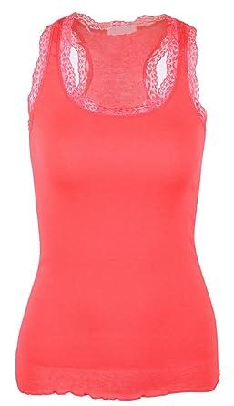 Basic Camis Sexy pour femme dentelle et col en U Haut débardeur Caraco  couleur solide - Rouge - Taille unique  Amazon.fr  Vêtements et accessoires 7f210fd9f5f
