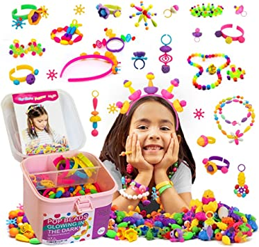 TS YUNIKU Jewelry Making Kit for Kids - Glow in The Dark Pop Beads, Arts & Crafts Supplies - 550 Pieces, Set for DIY Bracelets, Hairbands, Necklaces, & Earrings, Colorful Toys for Girls Age 3 & Above