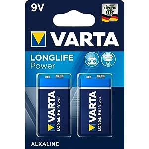 Varta Longlife 4922 - Pack de 2 pilas alcalinas, tamaño 9V, color azul