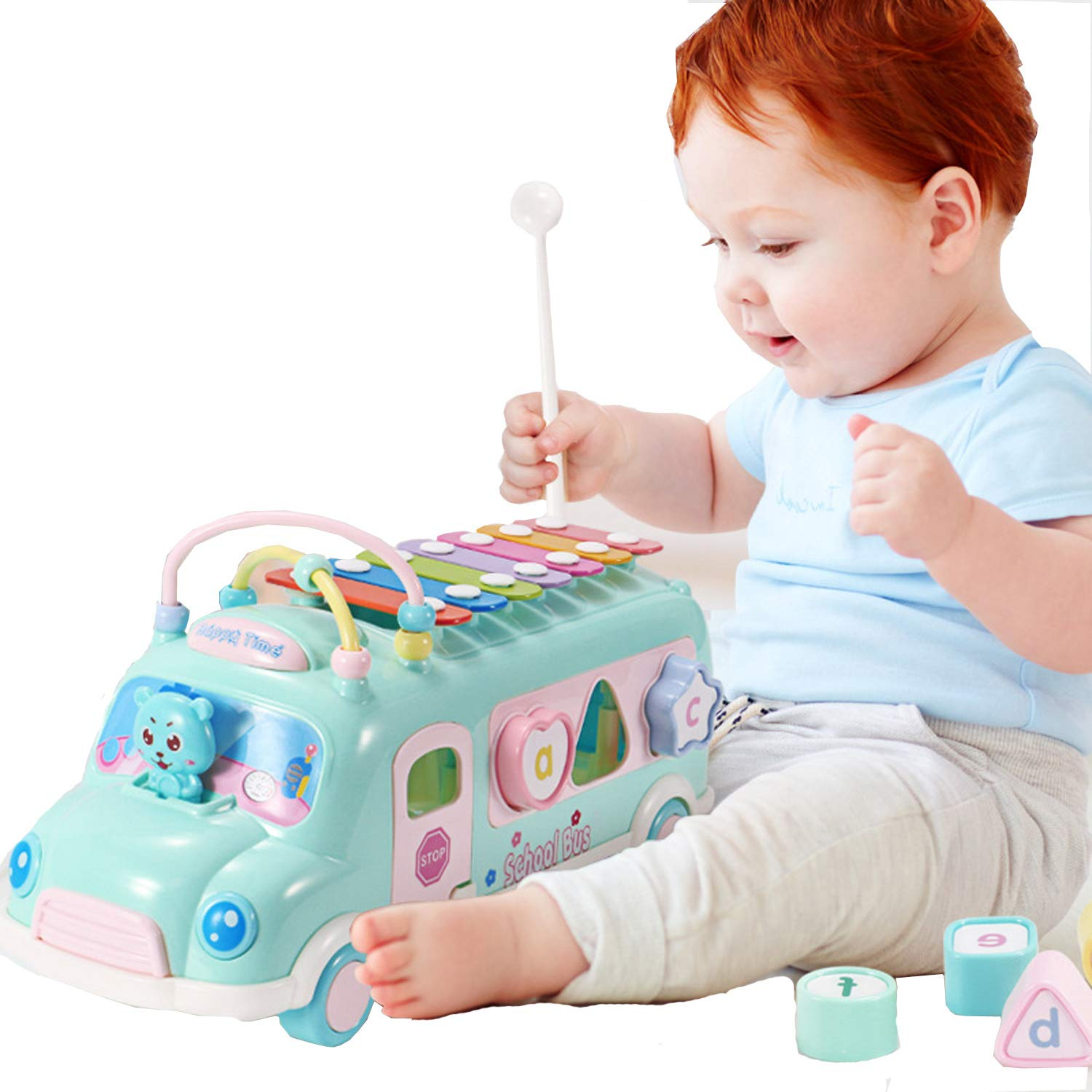 Toys Xylophone For Baby Toddler Kid Boy Girl 1 2 3 4 5 Year Old Xylophone Musical Instruments Dragging Educational Learning Toys Bus Vehicle Car Intellectual Dragging Toy Playset Alphabet Gift Idea