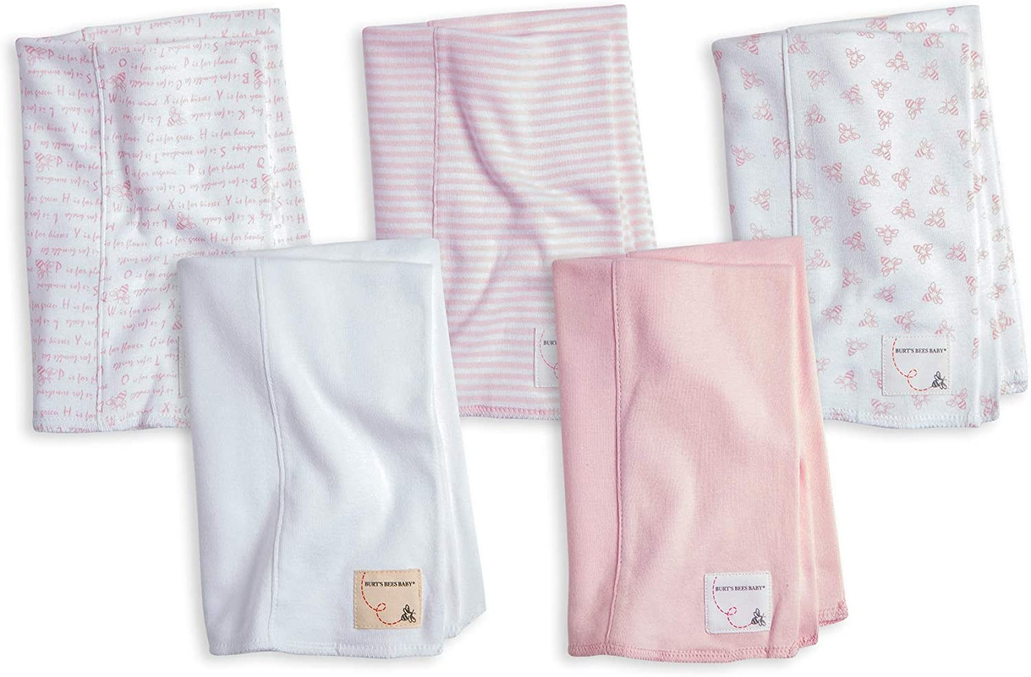 2 Pack Extra Absorbent 100/% Organic Cotton Burp Cloths 2 Pack Burts Bees Baby Blossom Burp Cloths