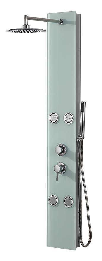 DP Grifería - Columna de ducha hidromasaje en cristal, color blanco ...