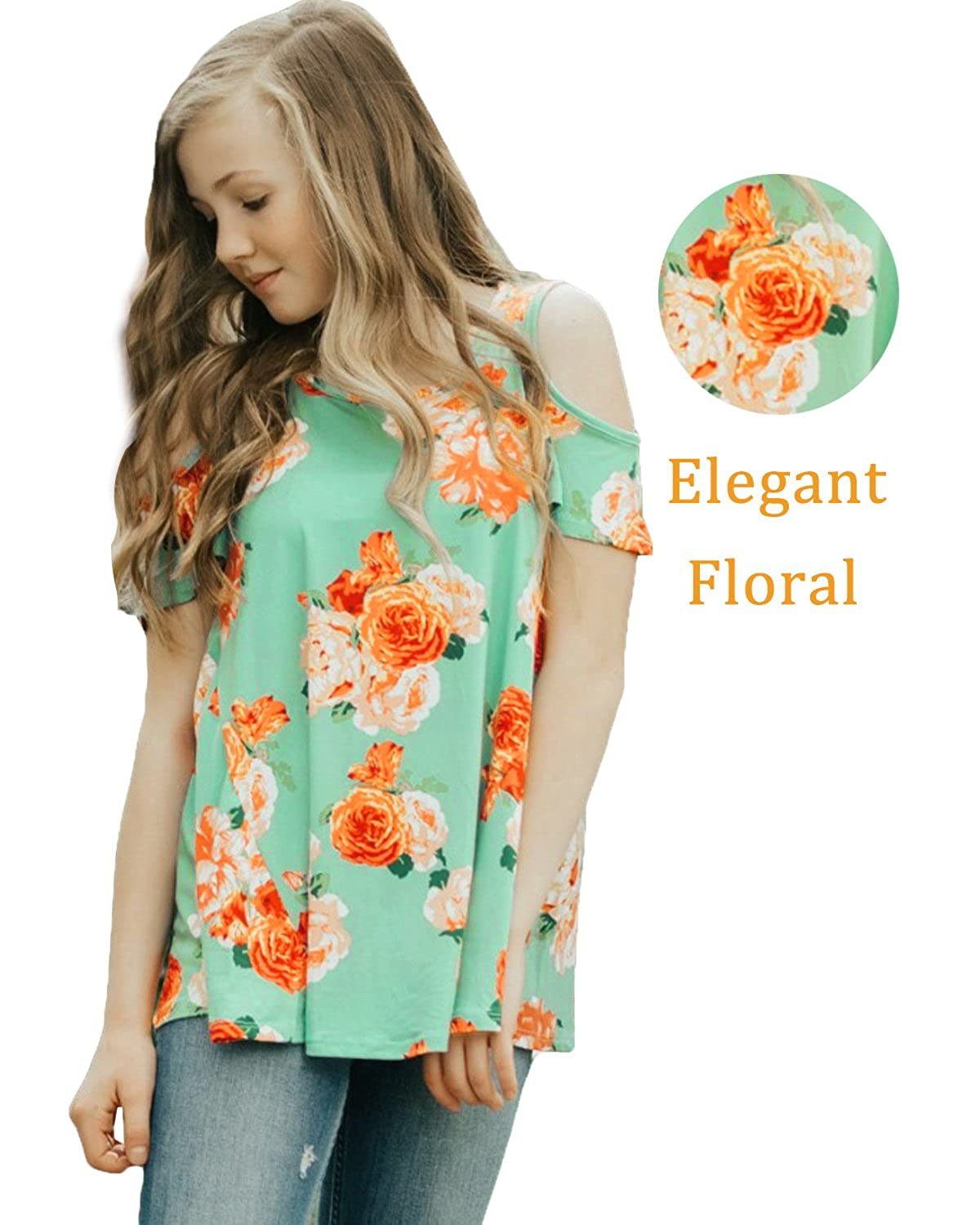 CHARMCZ Girls Tees Short Sleeve T Shirt Floral Print Spring Cut Out Shoulder Casual Loose Tunic Tops 4-13Y