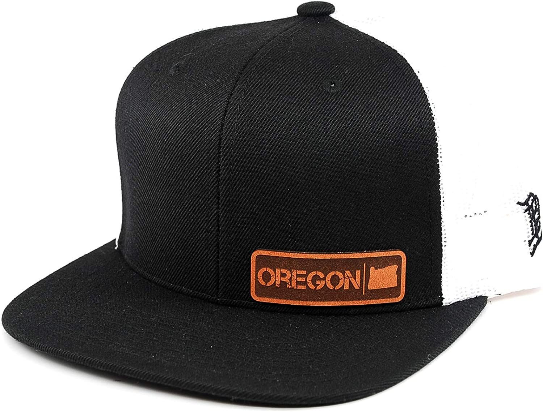 OSFA//Black//White Branded Bills /'Oregon Native Leather Patch Hat Flat Trucker