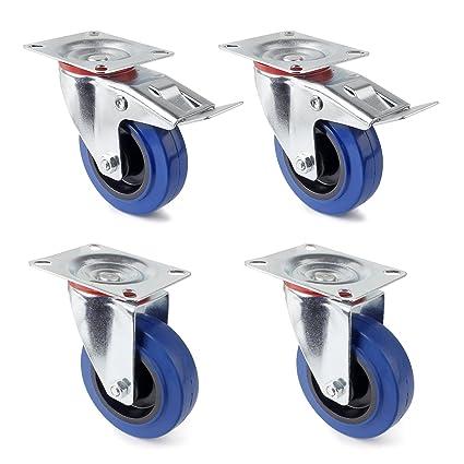 Ruedas giratorias de 4 piezas Juego de 75 mm (2 ruedas giratorias 75 mm +