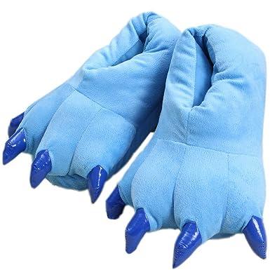 ELE GENS Damen Herren Hausschuhe Pantoffeln Slipper Hauspantoffeln Plüsch Warm Winter Cartoon Pfote Kostüm (40-43, Schwarz)