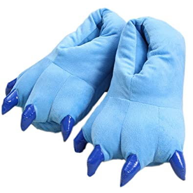 ELE GENS Damen Herren Hausschuhe Pantoffeln Slipper Hauspantoffeln Plüsch Warm Winter Cartoon Pfote Kostüm (35-39, Braun)