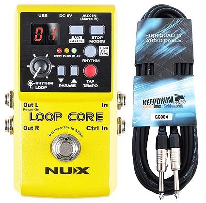 NUX Loop Core - Pedal de efectos para guitarra (incluye cable Keepdrum de 3 m