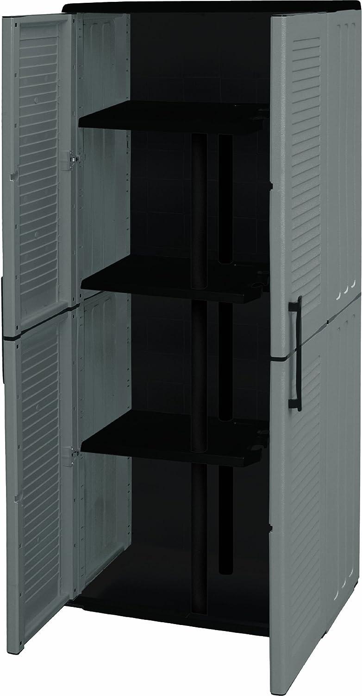Art Plast Armadio basso da esterno, economico, grigio/nero E71
