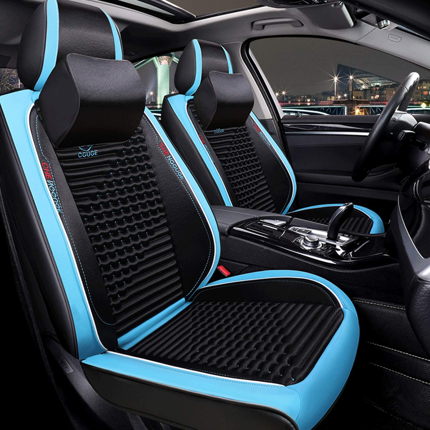The Full Surrounded Car Seat Protector with Headrest Lumbar Pillow Universal Fit Black-Blue RED-SHYN 2019PU Leather Car Seat Cover