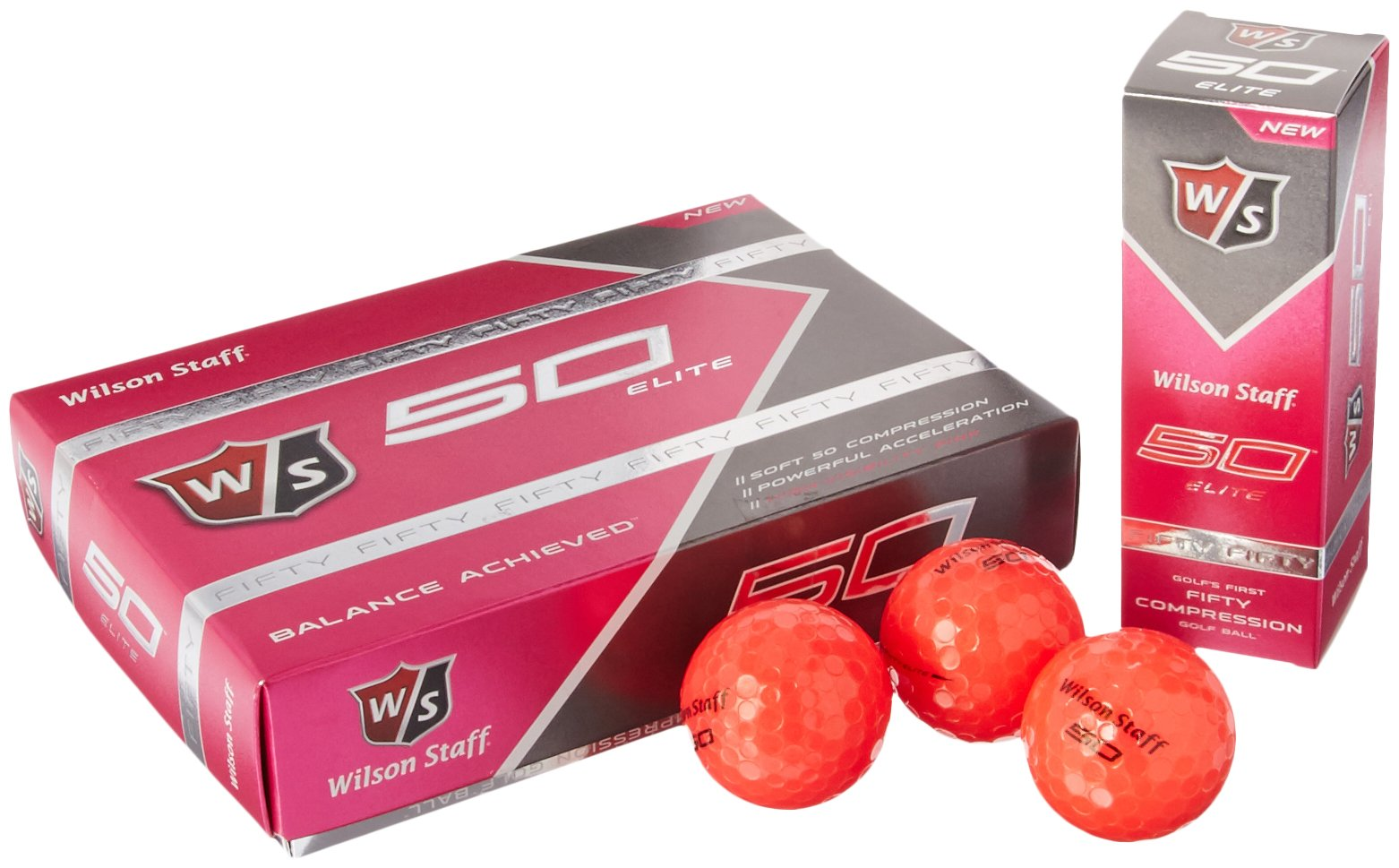 Wilson Staff Fifty Elite Golf Balls (12-Pack), Pink by Wilson