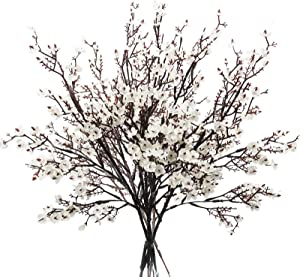 Uieke Artificial Flowers Babys Breath Fake Silk Flowers 6Pcs Faux Artificial Gypsophila Bouquet UV Resistant Real Touch for Outdoors Home Wedding Party Kitchen Bathroom DIY Décor (White)