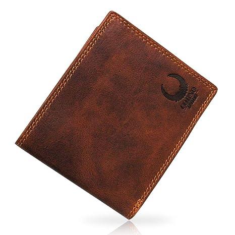 db4f1a0443a2e Geldbörse Herren Leder I XL Geldbeutel mit TÜV-zertifiziertem RFID Schutz I  Brieftasche mit Münzfach