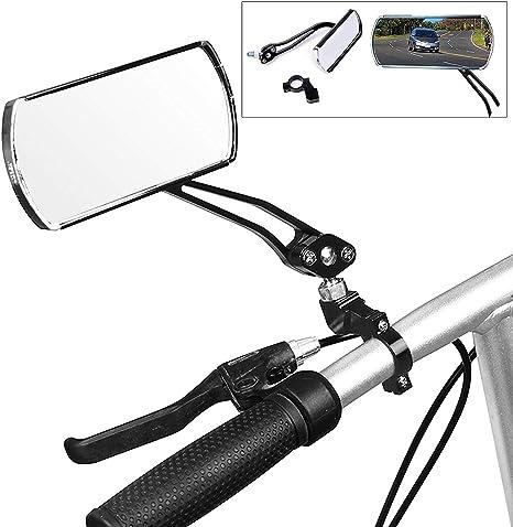 wishing Bicicleta Espejos,2 Piezas Espejo Retrovisor Bicicleta Espejo Plano Giratorio de 360 Grados 125 x 45 mm para Bicicleta de MTB, Silla de Ruedas, ciclomotor, Andador, Bicicleta de Carretera: Amazon.es: Deportes y