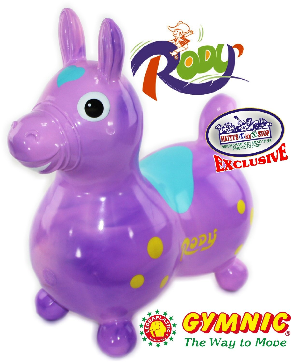 Gymnic Rody Horse Inflatable Bounce Ride Matty's Toy Stop Exclusive Purple Pink Swirl 70254