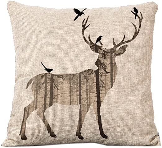 Amazon Com Deer Home Decor Design Throw Pillow Cover Pillow Case Linen For Sofa C12 Home Kitchen