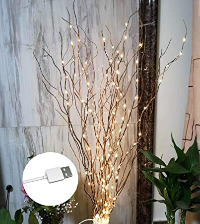 1 ZJ RIGHT R 37Inch 160LED Branch Light Natural Willow Twig Lighted Branch  for Home Decoration DIY USB Plug-in and Vase (Brown Branch Warm White ...