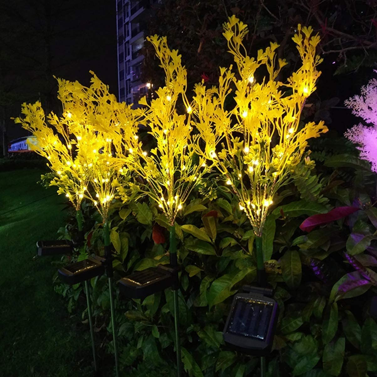 New Upgraded Solar Garden Lights Yellow Bigger Flower and Wider Solar Panel Solar String Lights 2 Pack Brighting Rape Solar Flower Lights for Patio,Yard Decoration Solar Lights Outdoor