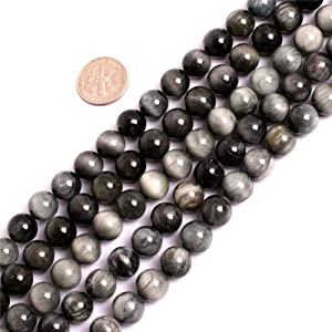 JOE FOREMAN 10mm Hawkeye Semi Precious Gemstone Round Loose Beads for Jewelry Making DIY Handmade Craft Supplies 15""