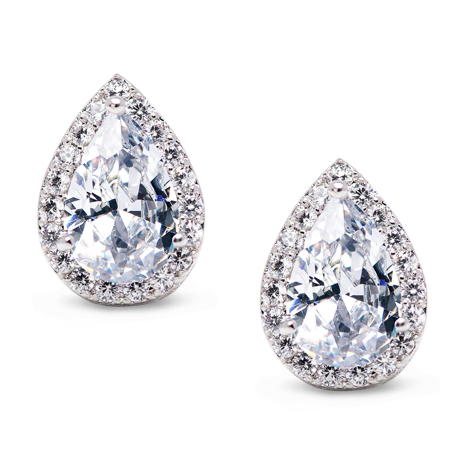 SWEETV Teardrop Bridal Earrings for Wedding, Prom - Elegant Cubic Zirconia Stud Earrings for women, brides, bridesmaids,Siver by SWEETV
