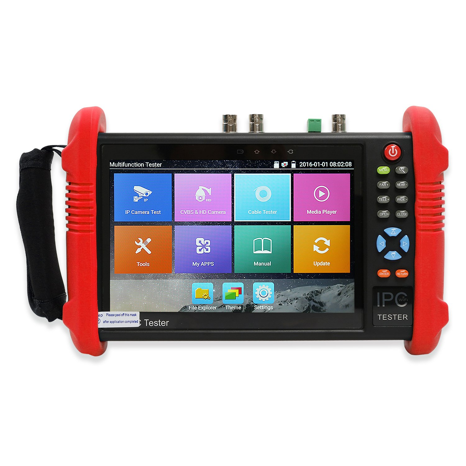 Wsdcam 7 Inch IPS Touch Screen IP Camera Tester Security CCTV Tester CVBS Monitor Analog Tester with SDI/TVI/AHD/CVI/POE/WIFI/4K H.265/HDMI in&Out/RJ45 TDR/Firmware Upgraded 9800ADHS-Plus (Red) by wsdcam