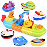 FUN LITTLE TOYS Baby Bath Toys, 7 PCs Toy Boats Include One Big Wind Up Bath Boat and 6 Bath Squirters Toy Boats, Birthday Gi