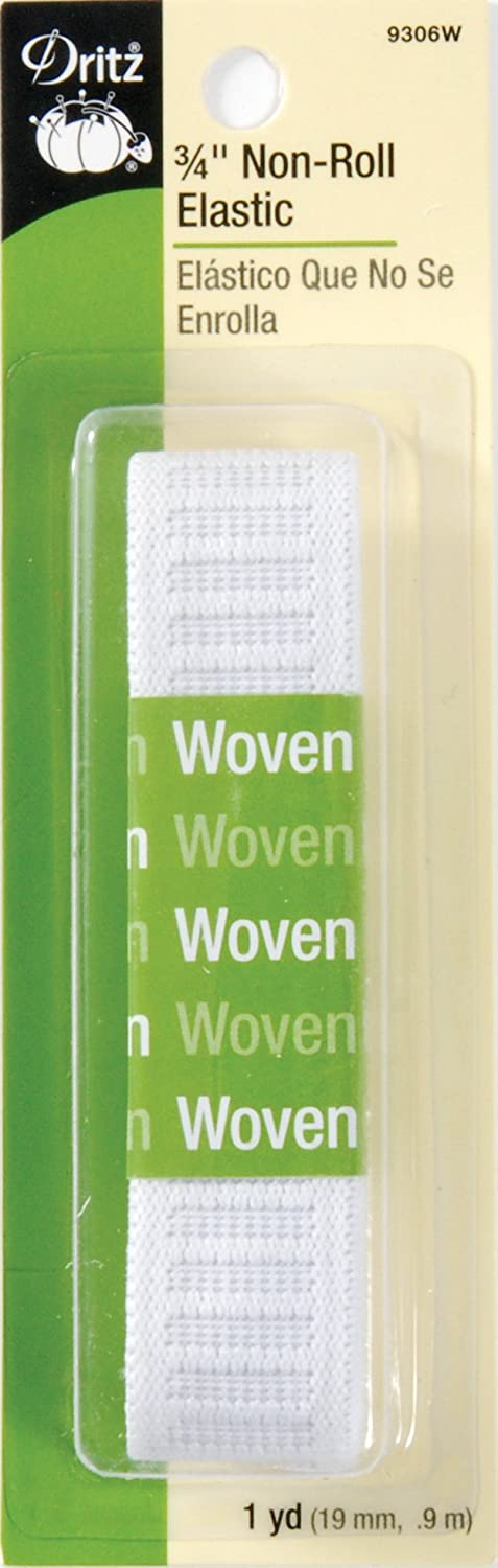 Dritz 9480W Non-Roll Woven Elastic White 1-1//2-Inch by 10-Yard