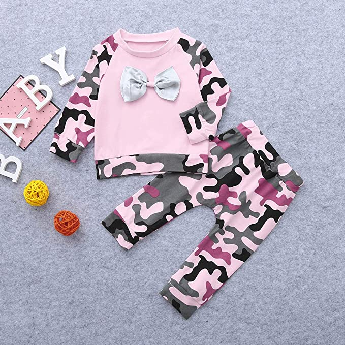 Print Pants Outfits Newborn Toddler Tracksuits Girls Outfits Clothing Sets DressLksnf Kids Boys Girls Clothes Set Long Sleeve Camouflage Bow Tops
