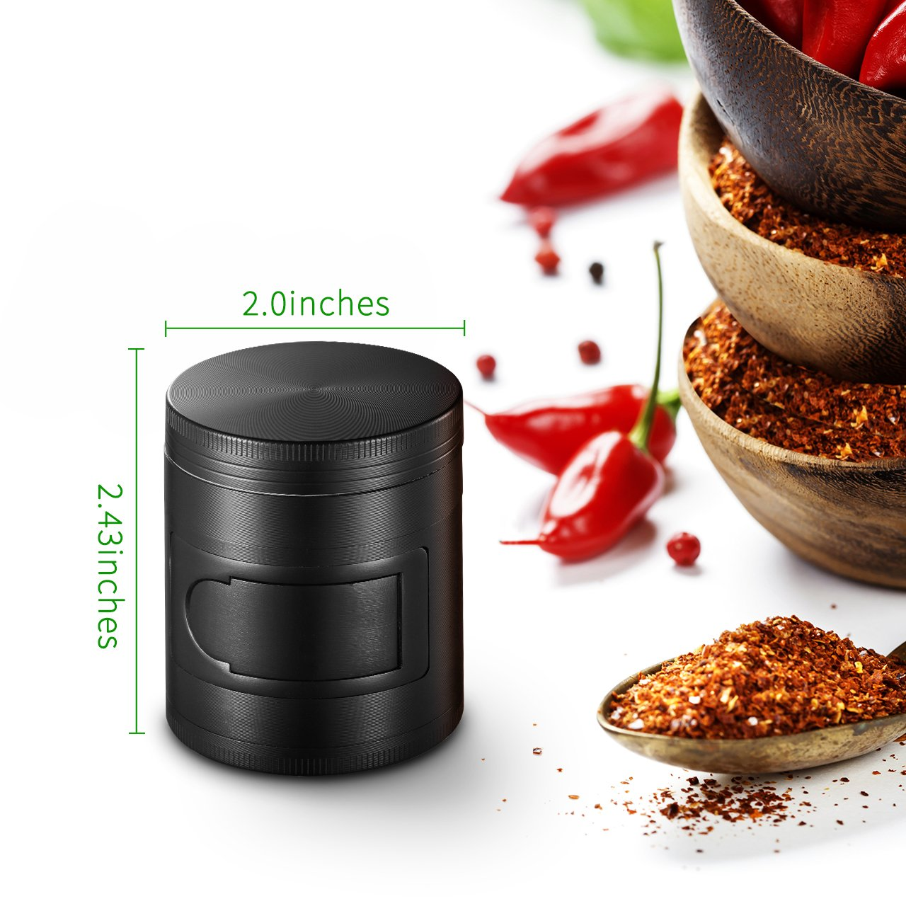 OMorc Herb and Spice Kitchen Grinder with Pollen Catcher 4-Piece 2 Heavy Duty Anodized Aluminum with Scrapper and Easy Access Window