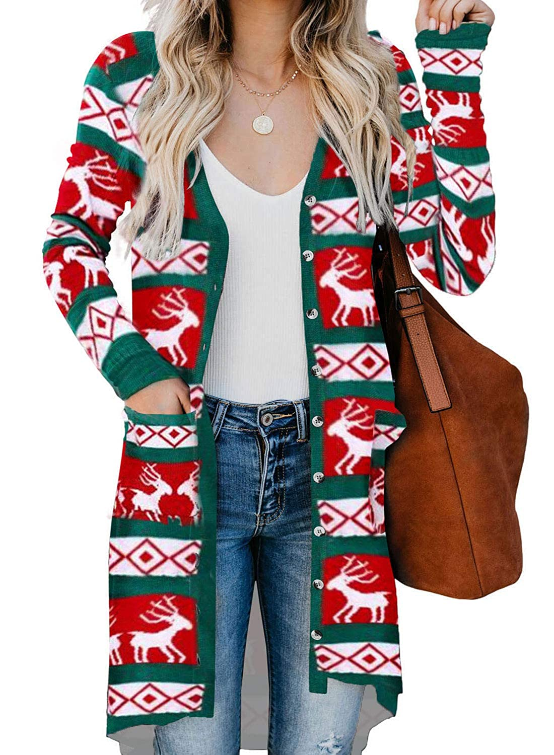 Aleumdr Womens Colorblock Geometric Ribbed Cuffs Christmas Cardigan Sweater with Pockets