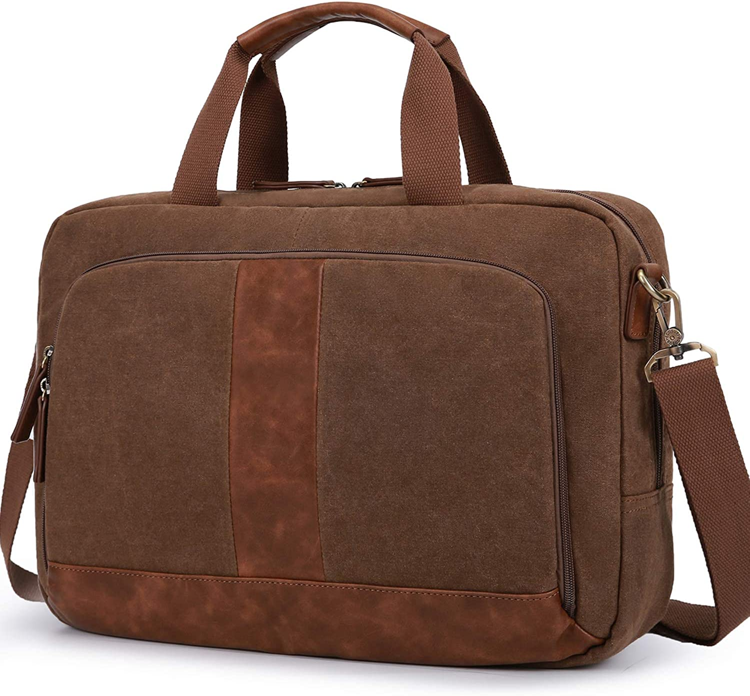 Laptop Bag 17.3 Inches ECOSUSI Canvas Computer Messenger Bag Briefcases for Men Water-Resistant for Business Work School