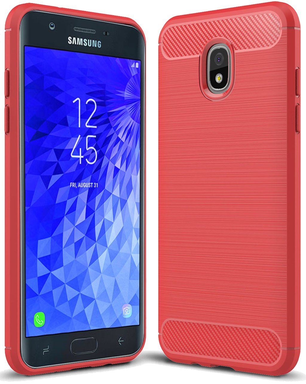for Samsung Galaxy J7 2018 case, Galaxy J7 V 2nd Gen Case,Galaxy J7 Refine Case,Galaxy J7 Aero,J7 Star,J7 Top,J7 Crown,J7 Aura,J7 Eon,J737V,J737T Sucnakp TPU Protective Case Cover(Red)