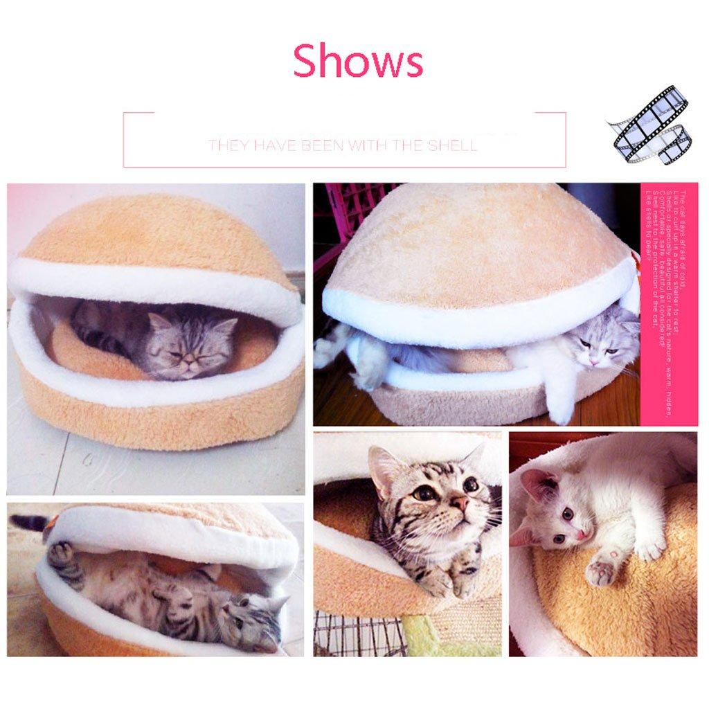 JYH Productos Para Mascotas Camada de gato, invierno cálido, lavable, cerrado, saco de dormir de gato, forma de concha, estera de gato Four Seasons, ...