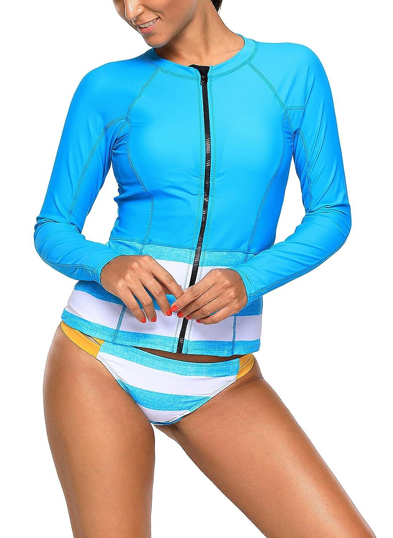 Asvivid Women's Print Long Sleeve Zip Front Rash Guard Two Piece Surf Rashguard Swimsuit