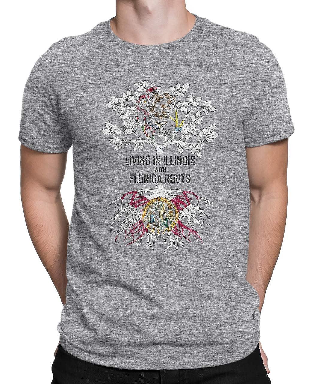 Tenacitee Mens Living in Illinois Florida Roots T-Shirt
