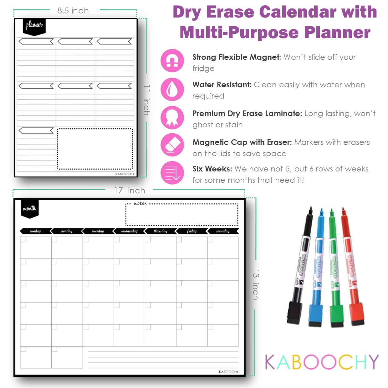 """Magnetic Dry Erase Monthly Fridge Calendar 17''x13'' with Multi-Purpose Planner 8.5""""x11"""" Plus 4 Bonus Markers. Reusable Refrigerator Planner/Erasable Whiteboard Kitchen Grocery List by KABOOCHY by KABOOCHY (Image #2)"""