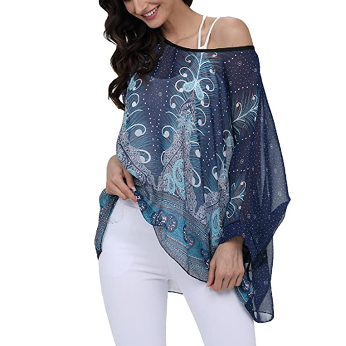 994e6831167725 JLTPH Ladies Batwing Chiffon Shirt Bohemian Semi Sheer Loose Floral ...