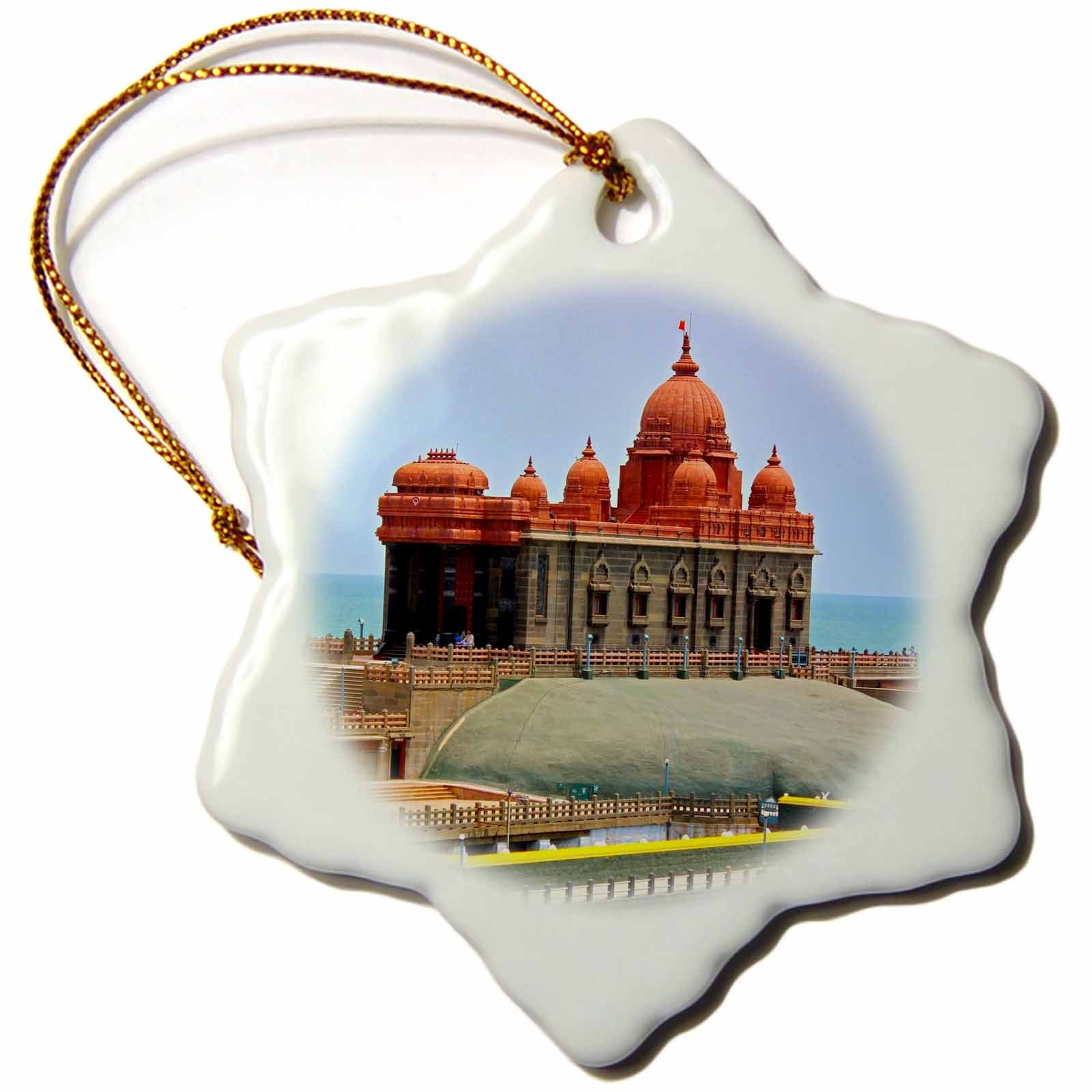 3dRose Cities Of The World - Kanyakumari Temple In India - 3 inch Snowflake Porcelain Ornament (orn_268676_1) by 3dRose (Image #1)
