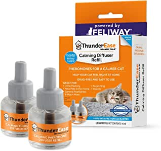 ThunderEase Cat Calming Pheromone Diffuser Refill   Powered by FELIWAY   Reduce Scratching, Urine Spraying, Marking, and Anxiety (60 Day Supply)