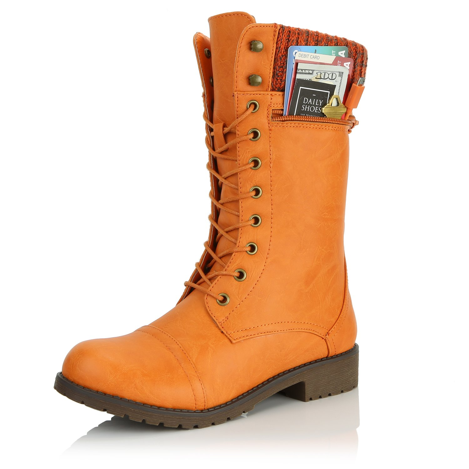 DailyShoes Women's Combat Style Lace up Ankle Bootie Round Toe Military Knit Credit Card Knife Money Wallet Pocket Boots, Orange Pu, 7.5