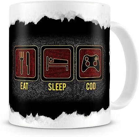 The Groovy Funk Eat Sleep Cod Wordart Design Coffee Tea Mug Amazon Co Uk Kitchen Home