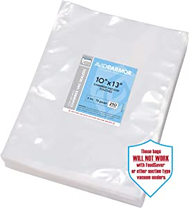 """Chamber Machine Vacuum Pouches Size 10"""" x 13"""" Pack of 250 Pre-Cut Heavy Duty 3Mil - NOT COMPATIBLE WITH FOODSAVER TYPE VACUUM SEALERS - Commercial Grade BPA Free Sous Vide Safe Avid Armor"""